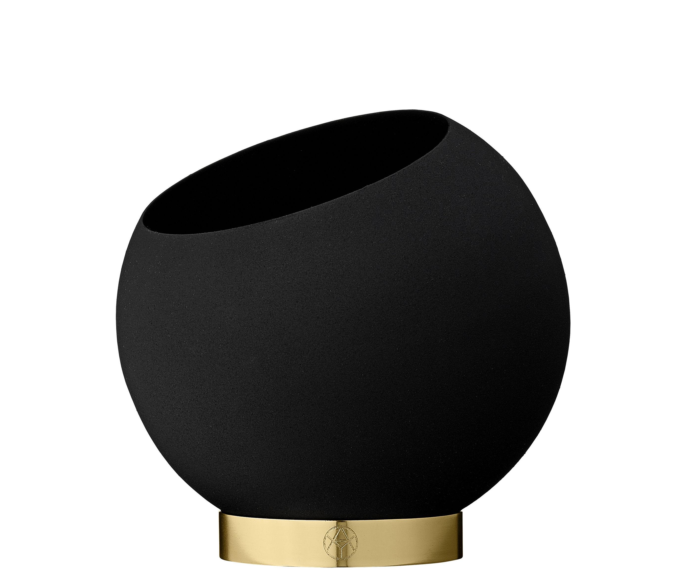 Interni - Vasi - Vaso per fiori Globe - / Ø 17 cm - Metallo di AYTM - Noir & or - Acciaio inossidabile, Ferro dipinto