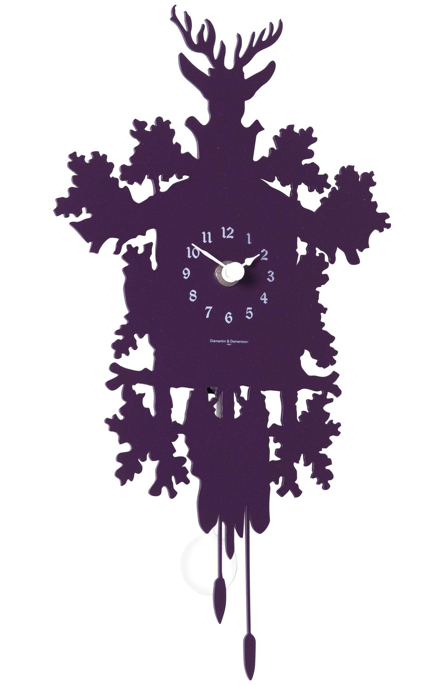 Decoration - Wall Clocks - Cucù Mignon Wall clock - with pendulum - H 34 cm by Diamantini & Domeniconi - Aubergine - Steel
