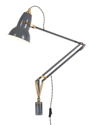 Lighting - Wall Lights - Original 1227 Wall light with switch - Brass / Arm by Anglepoise - Elephant Grey - Aluminium, Brass