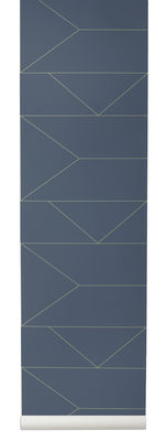 Decoration - Wallpaper & Wall Stickers - Lines Wallpaper - 1 panel - W 53 cm by Ferm Living - Blue / Gold - Non-woven fabric