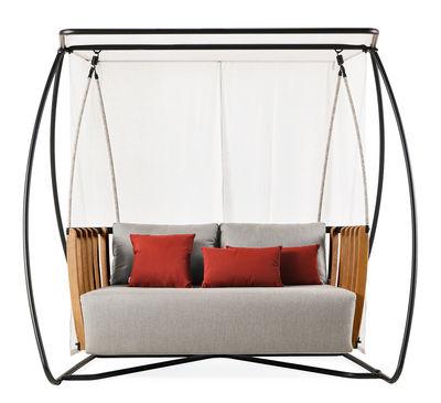 Outdoor - Chaises longues et hamacs - Balancelle Swing / L 205 x H 193 cm - Ethimo - Noir & teck naturel / Tissu gris - Aluminium laqué, Mousse, Teck naturel, Tissu acrylique, Voilage