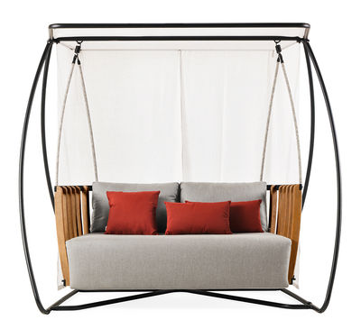 Balancelle Swing / L 205 x H 193 cm - Ethimo gris en tissu/bois