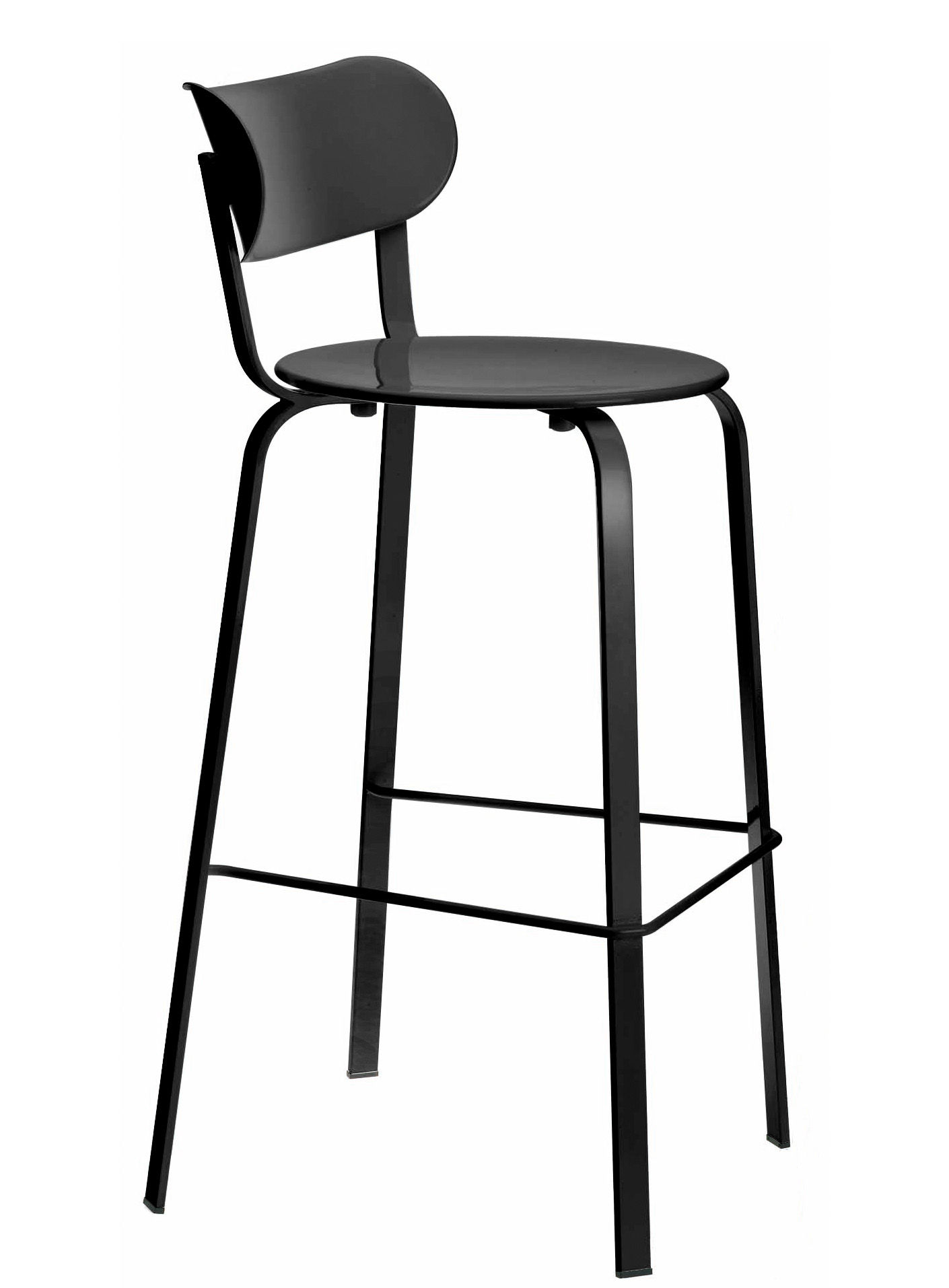 Furniture - Bar Stools - Stil Bar chair - H 75 cm - Metal by Lapalma - Black lacquered metal - Lacquered metal