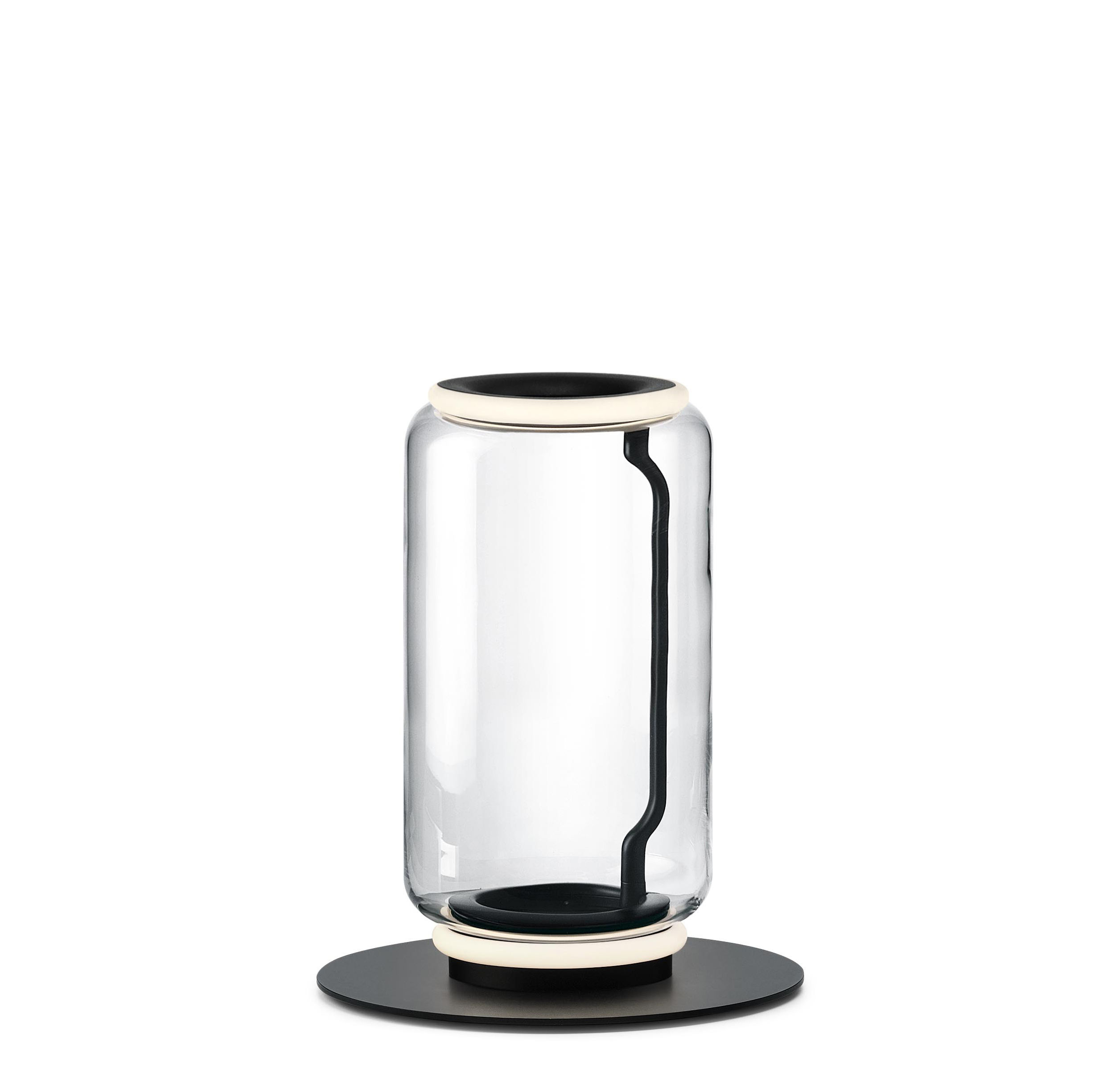 Leuchten - Stehleuchten - Noctambule Cylindre n°1 Bodenleuchte / LED - Ø 25 x H 50 cm - Flos - H 50 cm / Transparent - geblasenes Glas, Gussaluminium, Stahl
