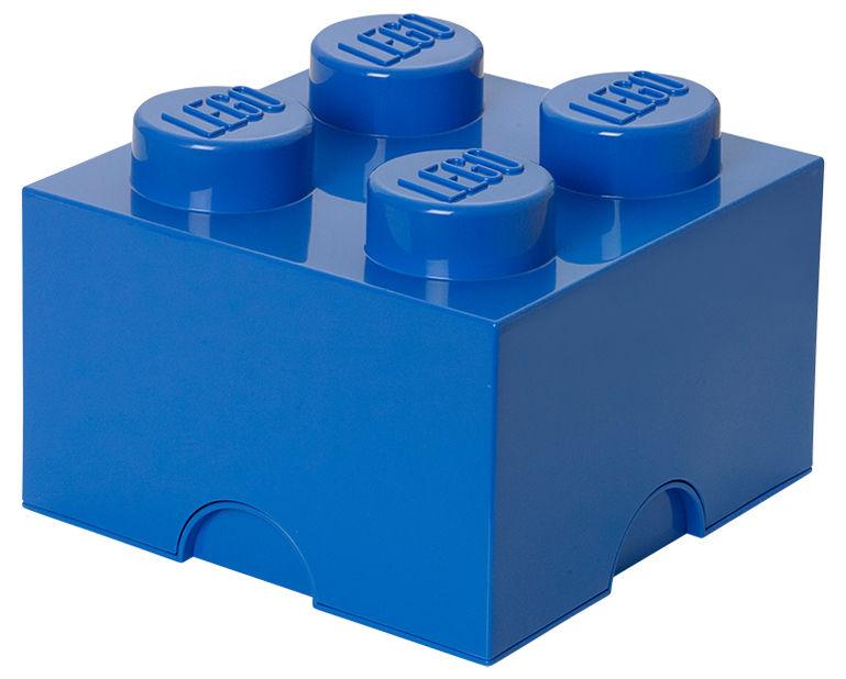 Déco - Pour les enfants - Boîte Lego® Brick / 4 plots - Empilable - ROOM COPENHAGEN - Bleu - Polypropylène