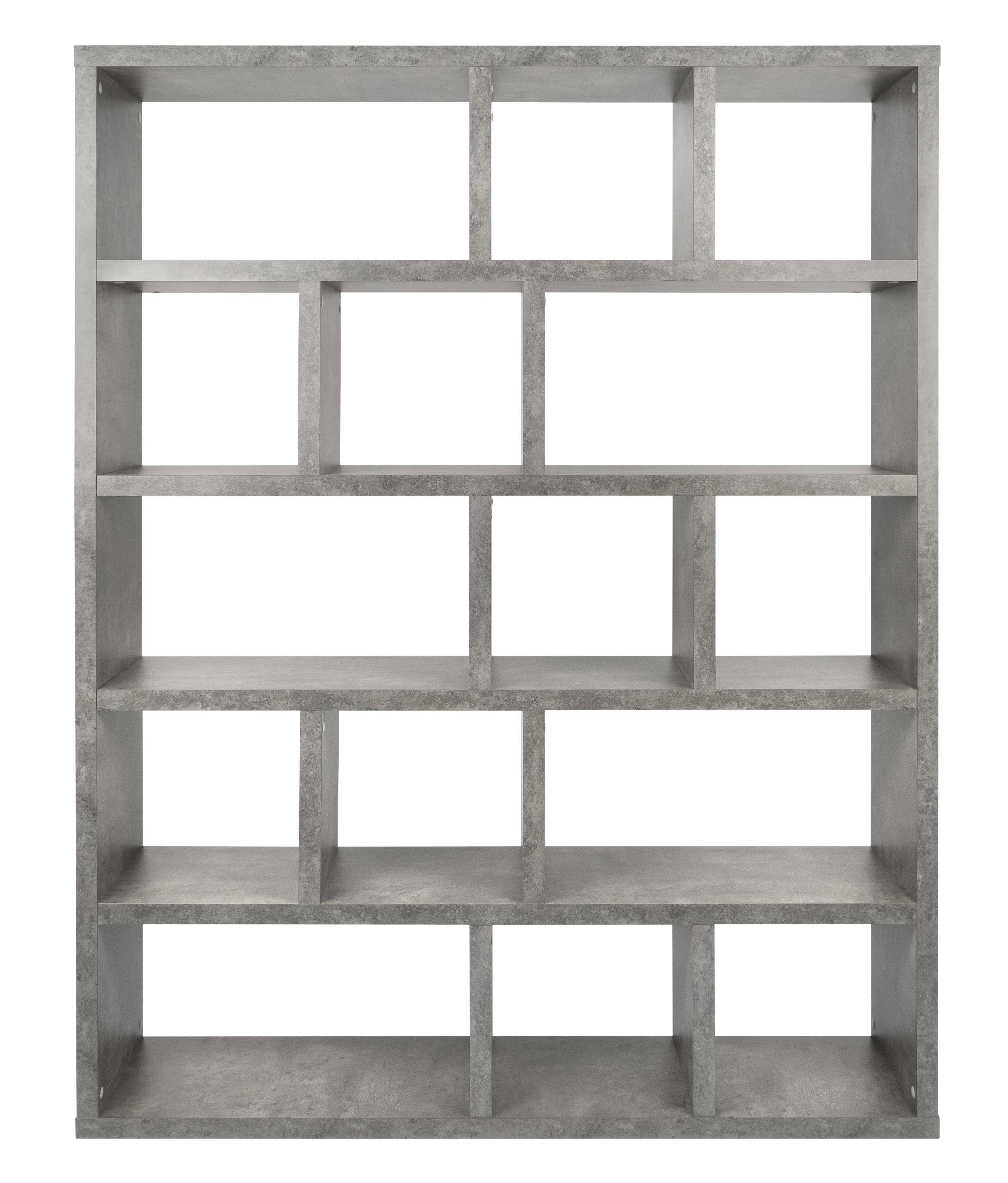 Furniture - Bookcases & Bookshelves - Rotterdam Bookcase - / L 150 x H 198 cm - Concrete effect by POP UP HOME - Concrete effect - Melamine honeycomb panels