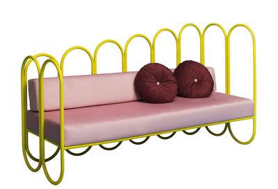 Canapé droit Arco 3 places Velours Houtique jaune,rose pâle en métal