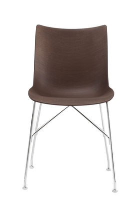 Furniture - Chairs - P/Wood Chair - / Moulded wood by Kartell - Dark beechwood / Chromed leg - Chromed steel, Moulded dark stained beech plywood