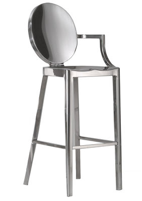Mobilier - Tabourets de bar - Chaise de bar Kong / H 60 cm - 1 accoudoir - Emeco - H 60 cm / Alu poli - Aluminium poli recyclé