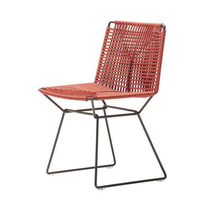 Mobilier - Chaises, fauteuils de salle à manger - Chaise Neil Twist / OUTDOOR - Corde tressée main - MDF Italia - Orange / Noir - Acier, Corde polyester