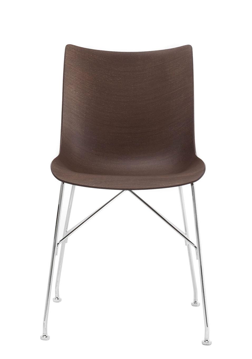 Mobilier - Chaises, fauteuils de salle à manger - Chaise P/Wood / Bois moulé - Kartell - Hêtre foncé / Pied chromé - Acier chromé, Contreplaqué de hêtre teinté foncé moulé