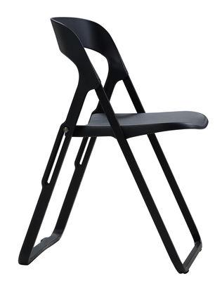 Mobilier - Chaises, fauteuils de salle à manger - Chaise pliante Bek / Polypropylène et structure métal - Casamania - Noir - Métal verni, Polypropylène