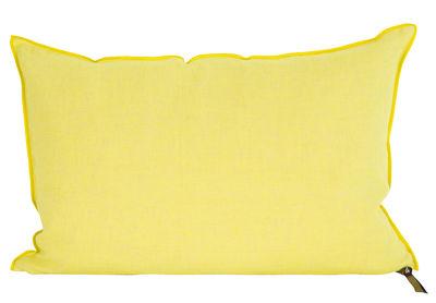Déco - Coussins - Coussin Vice Versa / 30 x 50 cm - Lin - Maison de Vacances - Jaune acide - Coton, Lin Lavé Froissé, Plumes de canard