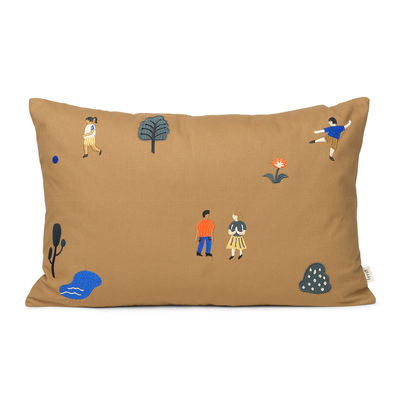 Decoration - Children's Home Accessories - The Park Cushion - / 60 x 40 cm - Embroidered patterns by Ferm Living - Taupe -  Duvet,  Plumes, Cotton GOTS