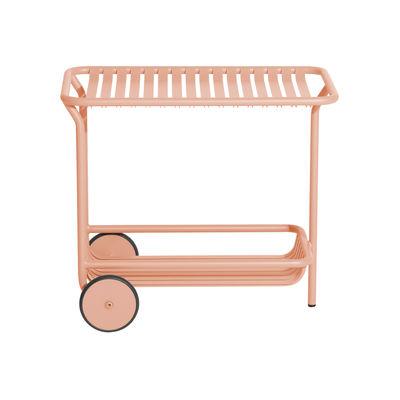 Desserte Week-End / Aluminium - Roulettes - Petite Friture rose blush en métal