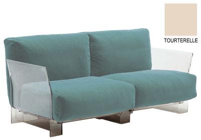 Arredamento - Divani moderni - Divano destro Pop Outdoor - 2 posti di Kartell - Tortora - policarbonato, Tessuto Sunbrella
