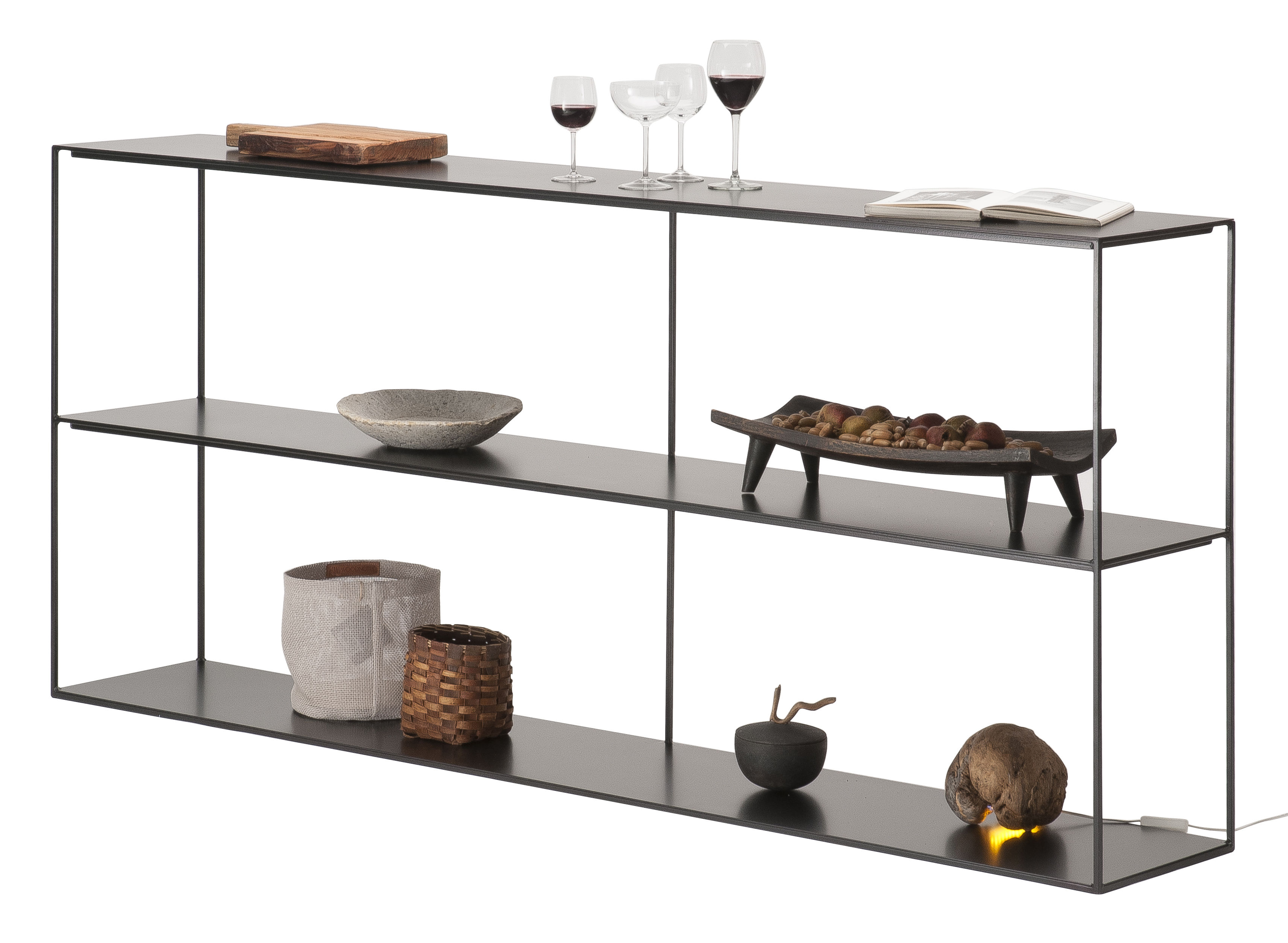 Mobilier - Etagères & bibliothèques - Etagère Slim Irony / L 180 x H 82 cm - Métal - Zeus - Noir cuivré - Acier