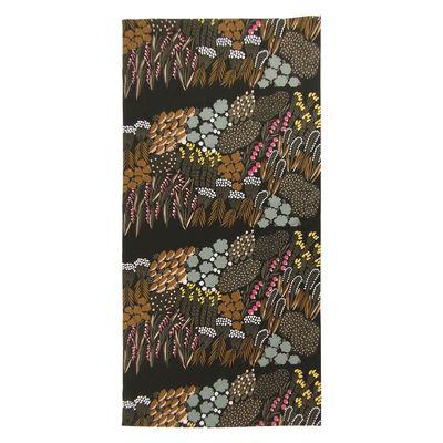 Tableware - Napkins & Tablecloths - Letto Fabric tablecloth - / 140 x 280 cm - Cotton by Marimekko - Letto / Dark green, brown, peach - Cotton