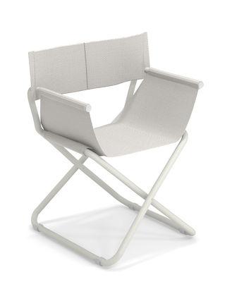 Mobilier - Chaises, fauteuils de salle à manger - Fauteuil pliant Snooze Directeur / Tissu & Métal - Emu - Blanc / Structure blanche - Acier verni, Tissu technique