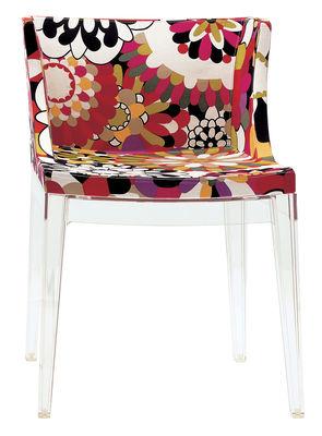 Mobilier - Chaises, fauteuils de salle à manger - Fauteuil rembourré Mademoiselle Missoni / Tissu & pieds transparents - Kartell - Fleurs tons rouges - Coton, Polycarbonate, Polyuréthane