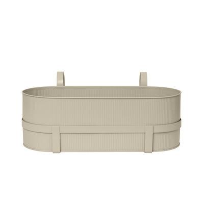 Outdoor - Pots & Plants - Bau Flowerpot - / With bracket - Metal / L 45 cm by Ferm Living - Cashmere beige - Galvanized steel