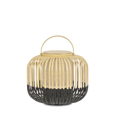 Illuminazione - Lampade da tavolo - Lampada senza fili Take A Way LED - / XS - Ø 27 x H 29 cm - Ricarica USB di Forestier - Nero / Naturale - Bambù