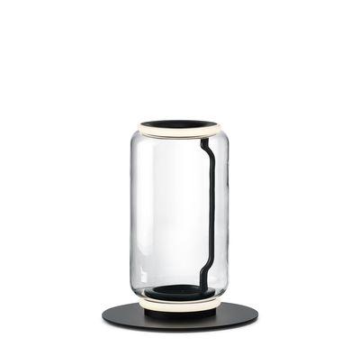 Lampe à poser Noctambule Cylindre n°1 / LED - Ø 25 x H 50 cm - Flos noir,transparent en verre