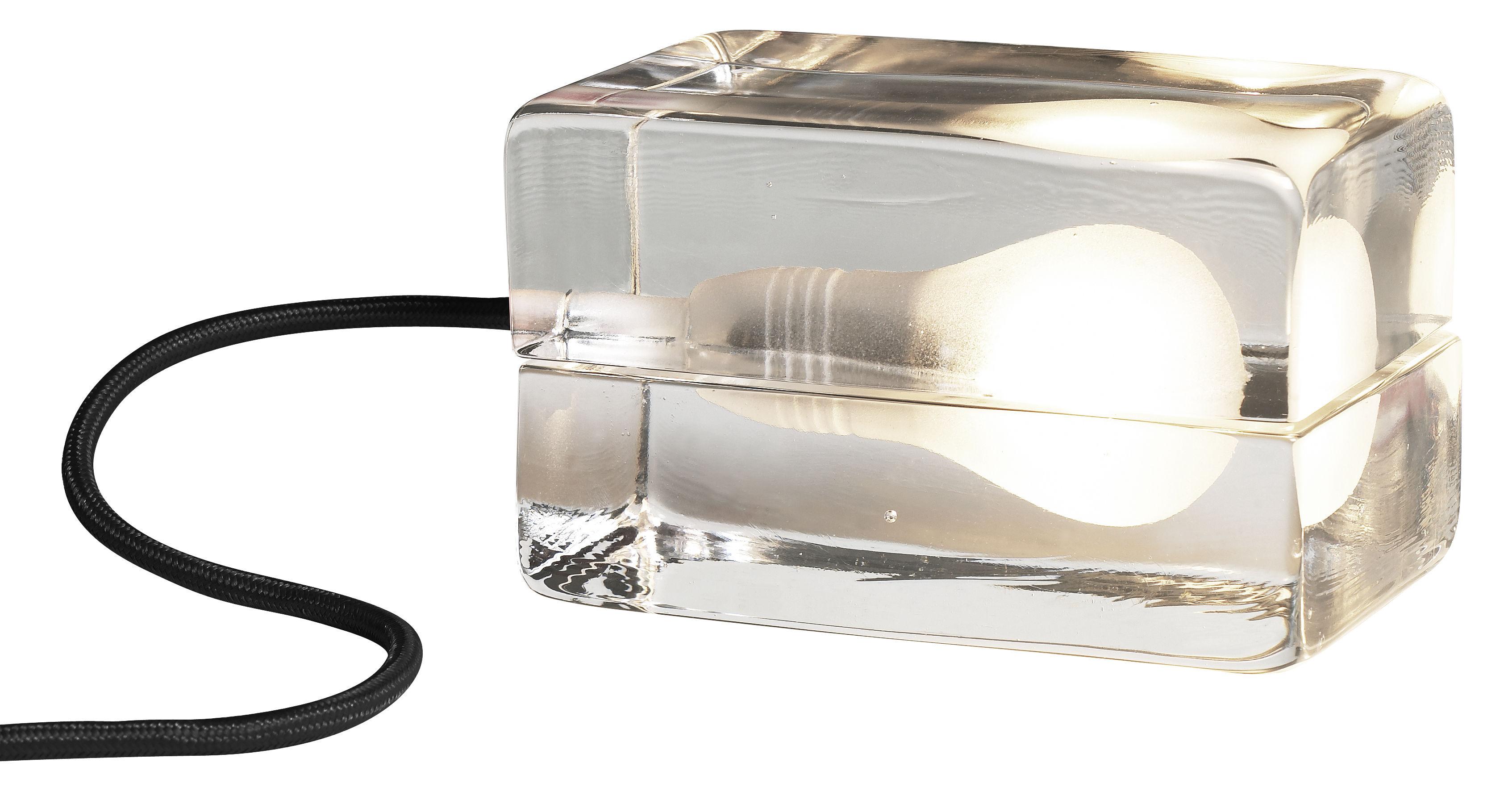 Luminaire - Lampes de table - Lampe de table Block Lamp L 16 cm - Design House Stockholm - Transparent / Cordon noir - Verre