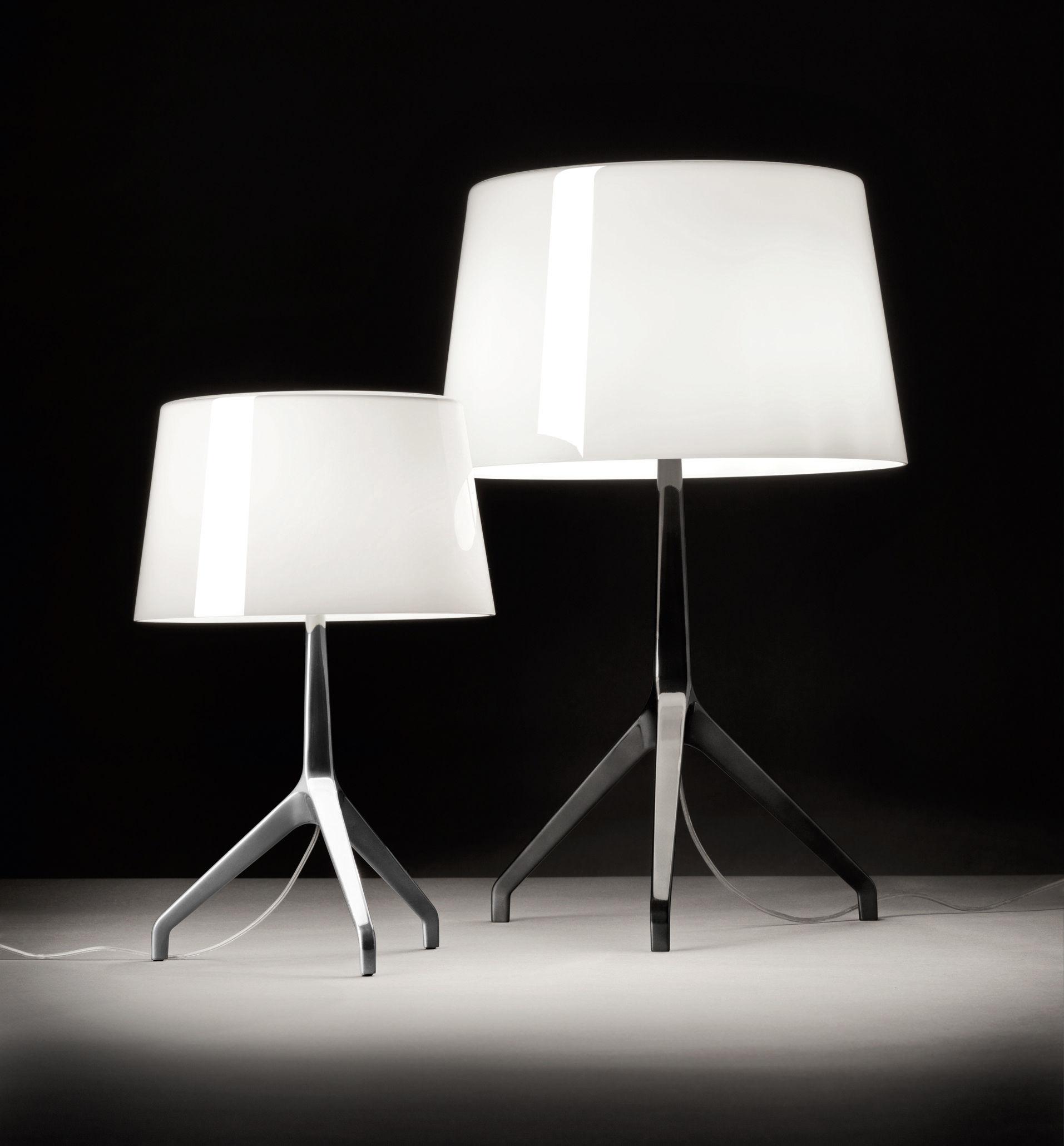 Lampe De Table Lumiere Xxl H 57 Cm Blanc Pied Noir Chrome