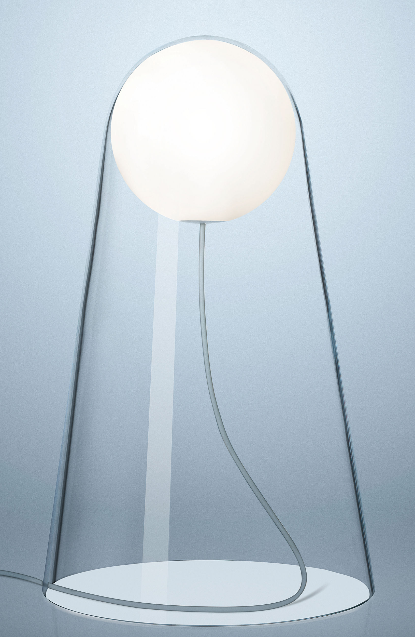 Luminaire - Lampes de table - Lampe de table Satellight LED / Verre soufflé bouche - Foscarini - Transparent / Sphère blanche - Verre soufflé bouche