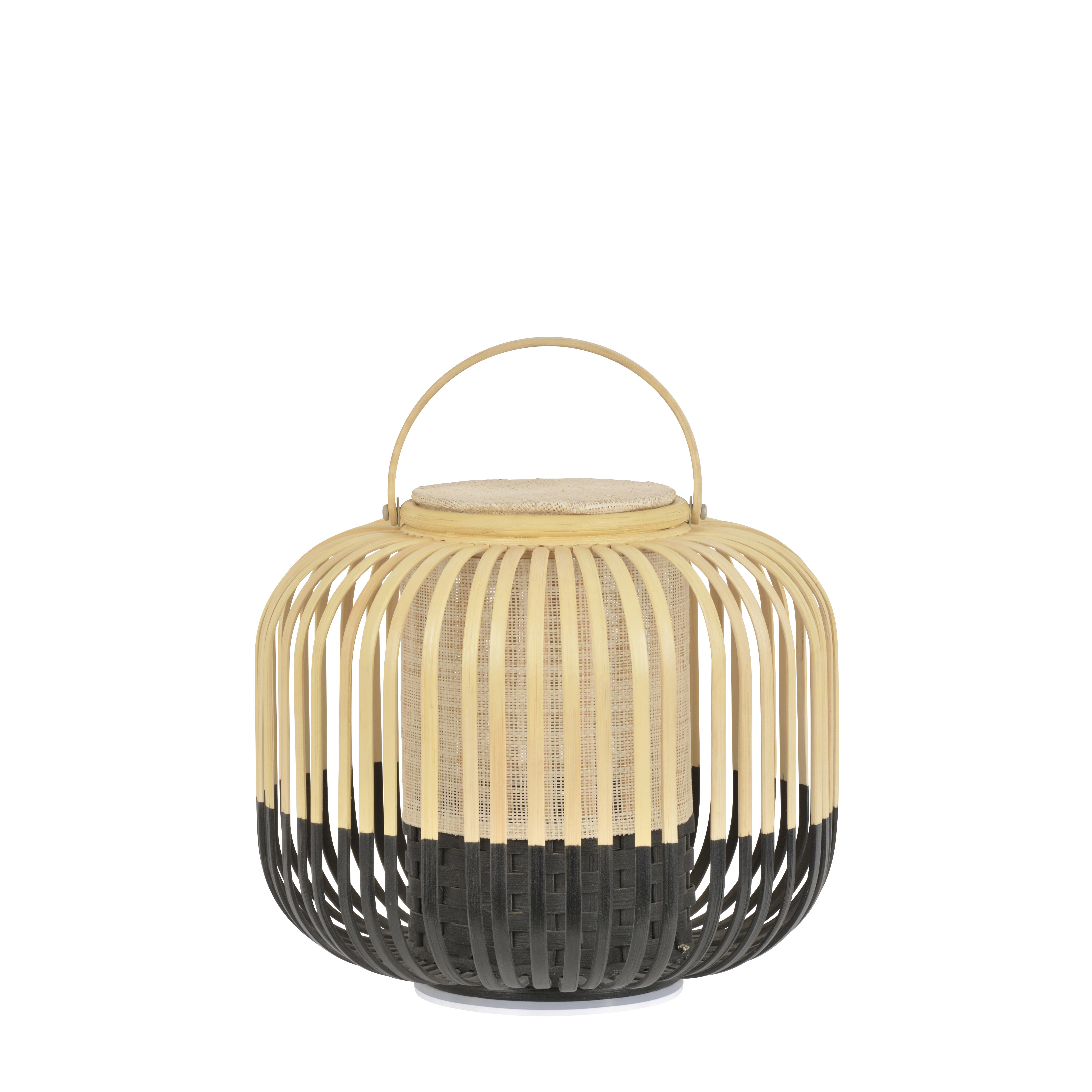Luminaire - Lampes de table - Lampe sans fil Take A Way LED / XS - Ø 27 x H 29 cm - Recharge USB - Forestier - Noir / Naturel - Bambou