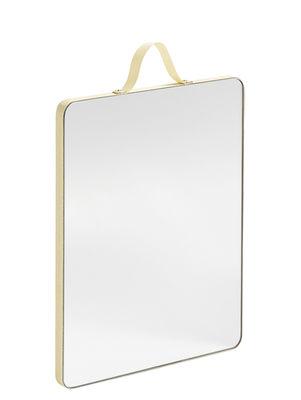 Déco - Miroirs - Miroir mural Ruban Medium / L 16 x H 20 cm - Hay - Jaune - Laiton, Plaquage chêne, Polyester, Verre