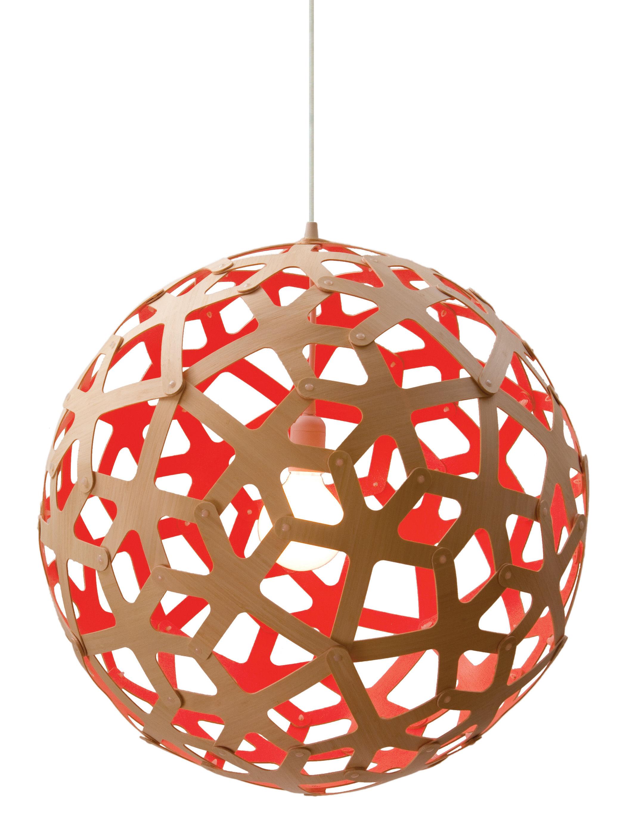 Leuchten - Pendelleuchten - Coral Pendelleuchte Ø 60 cm - Zweifarbig - Exklusiv - David Trubridge - Rot / Holz natur - Kiefer
