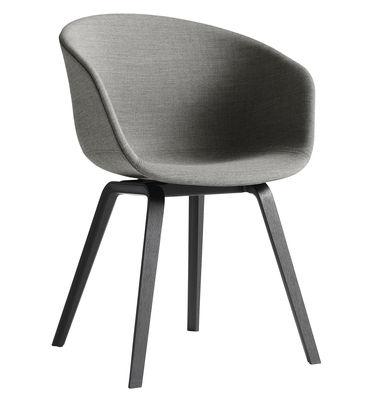 Arredamento - Sedie  - Poltrona imbottita About a chair AAC23 - versione tessuto - 4 gambe di Hay - Appoggio frassino dipinto di Nero / rivestimento grigio chiaro - Compensato di rovere tinto, Espanso, Polipropilene, Tessuto