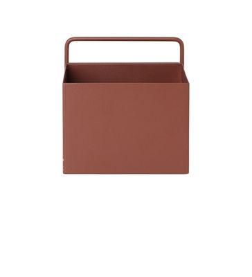 Pot de fleurs Carré / L 15,6 x H 15,6 cm - Ferm Living rouge/marron en métal
