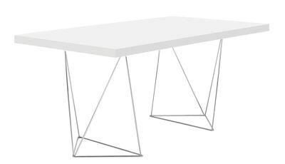Möbel - Büromöbel - Trestle rechteckiger Tisch / L 180 cm - POP UP HOME - Weiß / Fußgestell chromglänzend - Leichtbauplatten, Metall
