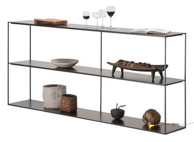 Möbel - Regale und Bücherregale - Slim Irony Regal / L 180 x H 82 cm - Zeus - Schwarzbraun - Stahl