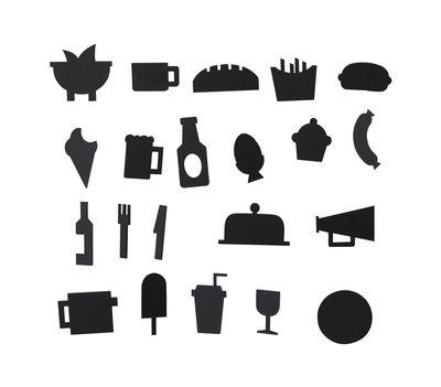 Set Symboles Food / pour tableau perforé - Design Letters noir en matière plastique