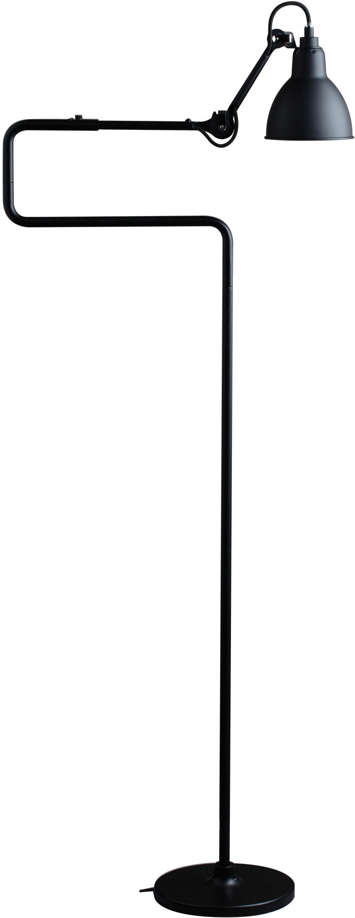 Lighting - Floor lamps - N°411 Small reading lamp - H 138 cm by DCW éditions - Lampes Gras - Black diffuser / Black structure - Steel