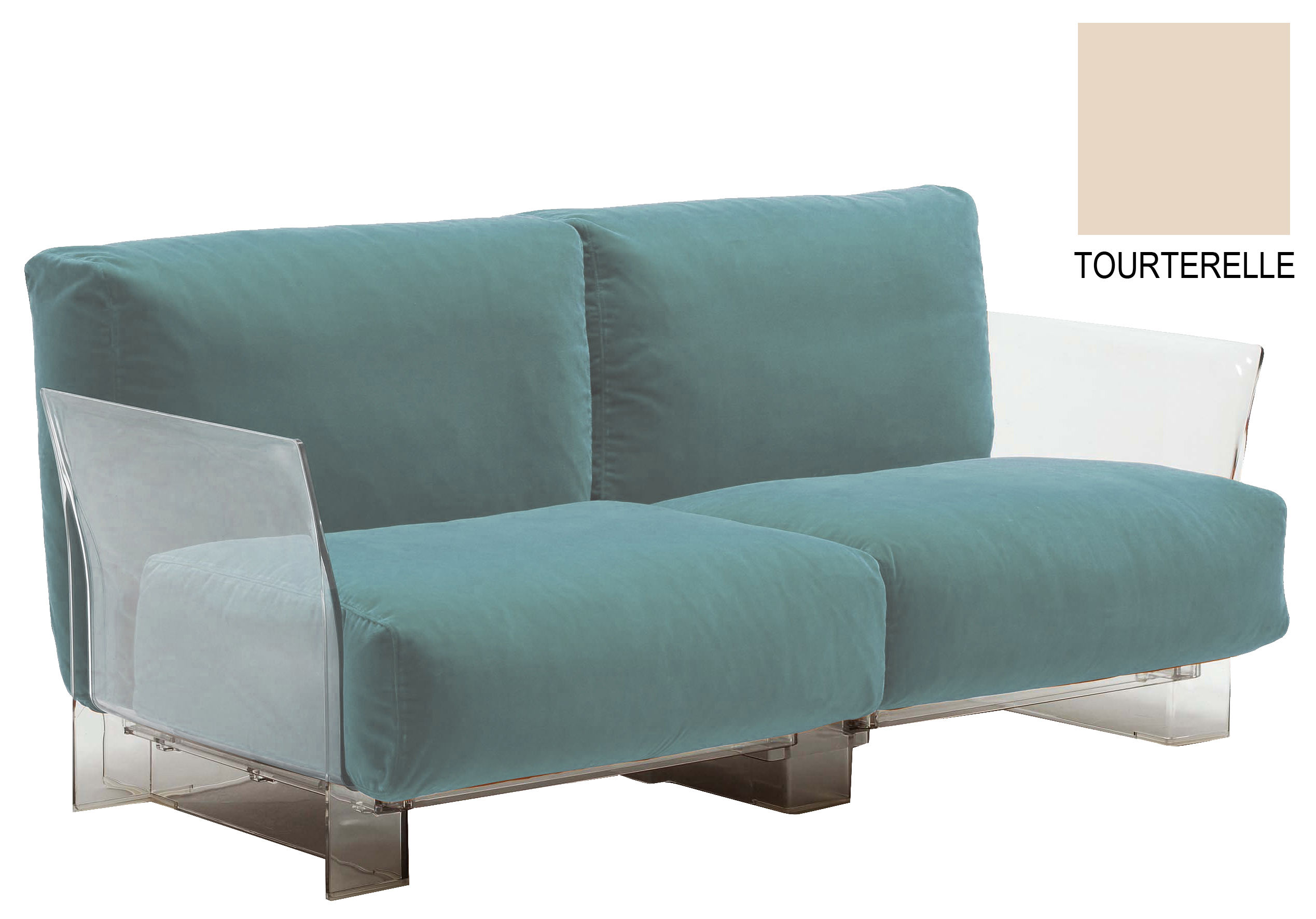 Möbel - Sofas - Pop Outdoor Sofa 2-Sitzer - Kartell - Taubenblau - Polykarbonat, Sunbrella-Gewebe