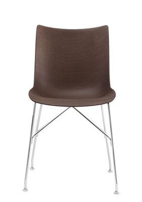 Möbel - Stühle  - P/Wood Stuhl / Geformtes Holz - Kartell - Dunkles Buchenholz / verchromter Fuß - Dunkel gebeiztes Buchensperrholz geformt, verchromter Stahl