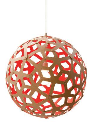 Luminaire - Suspensions - Suspension Coral / Ø 60 cm - Bicolore rouge & bois - David Trubridge - Rouge / Bois naturel - Pin
