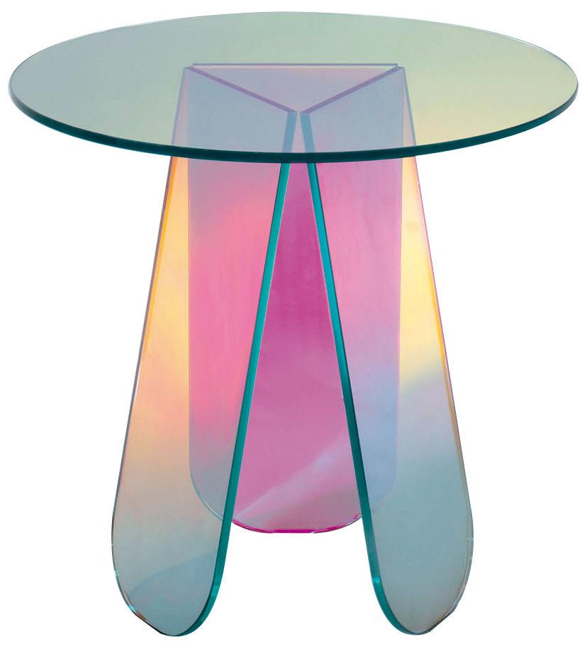 Mobilier - Tables basses - Table basse Shimmer / Ø 65 x H 50 cm - Glas Italia - Ø 65 / Multicolore - Verre