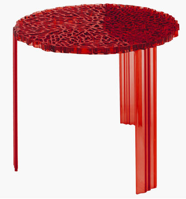 Mobilier - Tables basses - Table basse T-Table Alto / Ø 50 x H 44 cm - Kartell - Rouge Transparent - PMMA