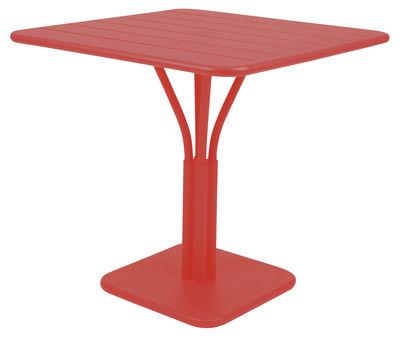 Table carrée Luxembourg / 80 x 80 cm - Pied central - Aluminium - Fermob coquelicot en métal