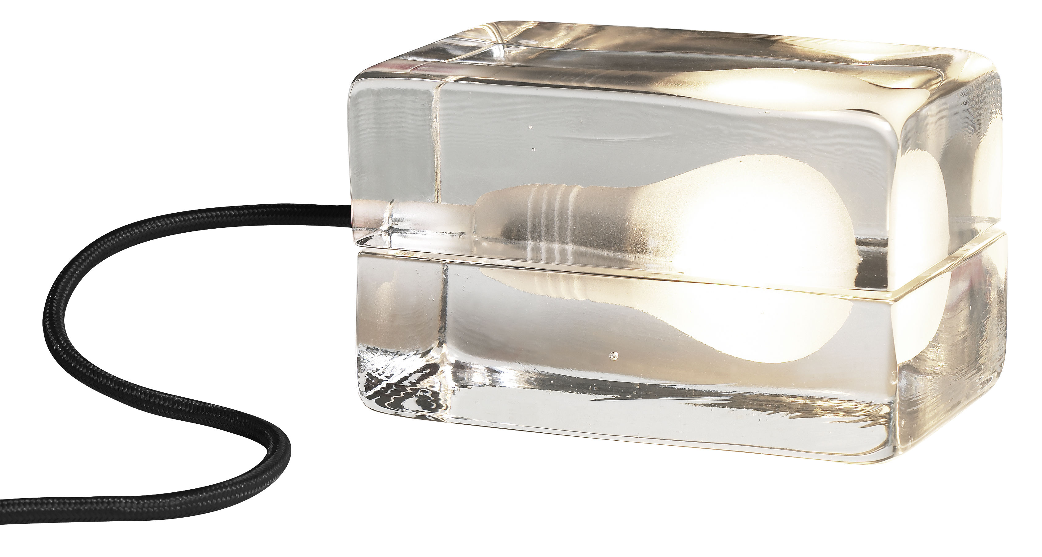 Lighting - Table Lamps - Block Lamp Table lamp by Design House Stockholm - Transparent / Black cord - Glass