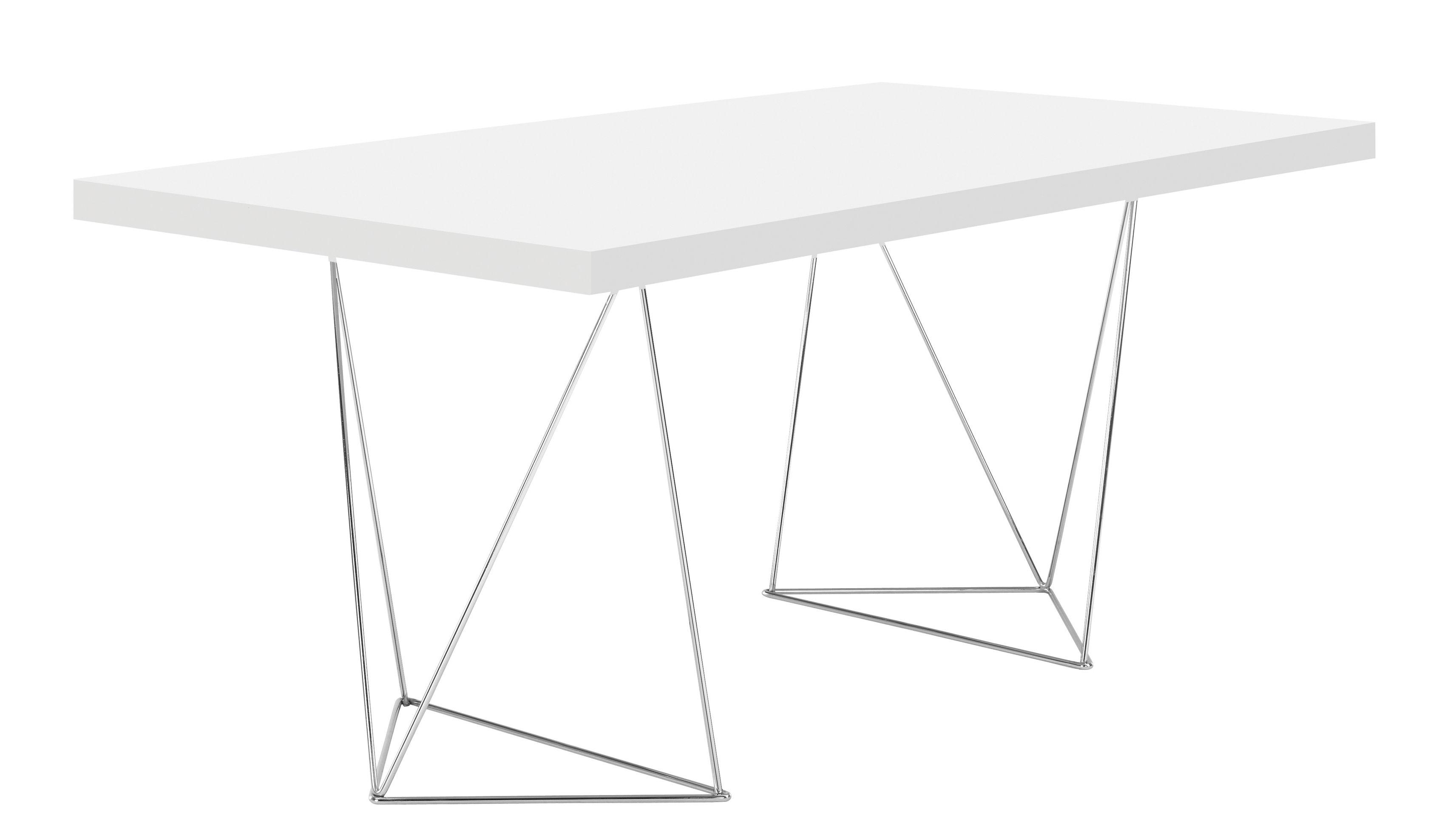 Mobilier - Bureaux - Table rectangulaire Trestle / L 180 cm - POP UP HOME - Blanc / Pied chromé - Métal, Panneaux alvéolaires