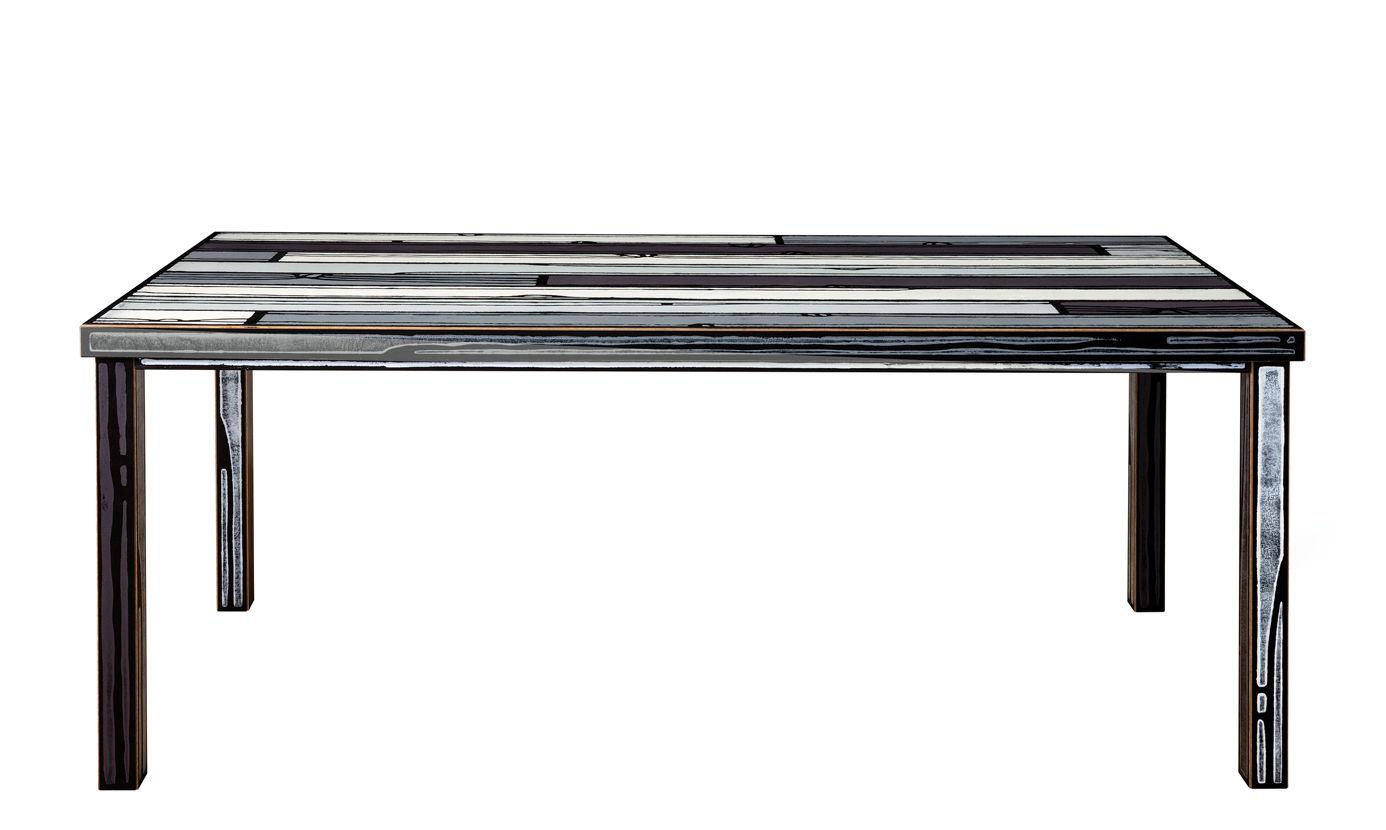 Mobilier - Tables - Table rectangulaire Wrongwoods / 200 x 90 cm - Established & Sons - Gris - Bois peint, Contreplaqué peint