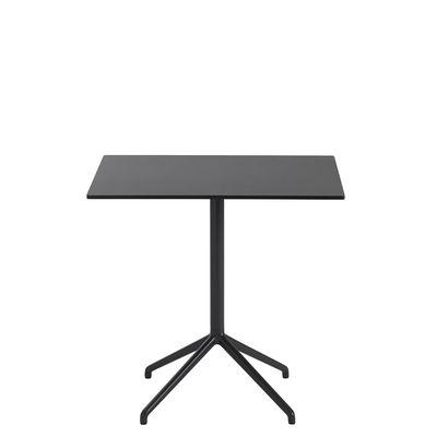 Furniture - Dining Tables - Still Café Table - / 75 x 65 cm x H 73 cm - Linoleum by Muuto - Black - Cast aluminium, MDF with linoleum finish, Steel