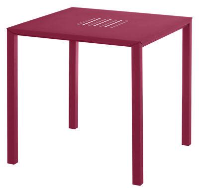 Outdoor - Tavoli  - Tavolo quadrato Jolly - / 80 x 80 cm - Acciaio di Emu - Rosso - Acciaio verniciato